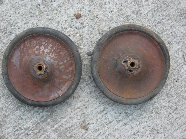"""two  5 """" vintage toy cart wheels pull wagon peddle car"""