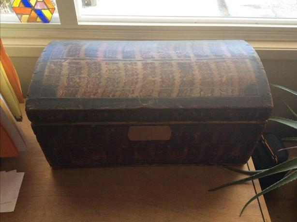 "Vintage domed doll trunk (approx 11.5"" H 11.75"" D 23.5"" W)"