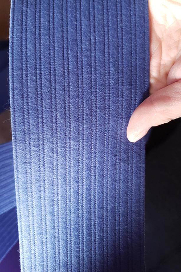 Blue hanging vertical blinds
