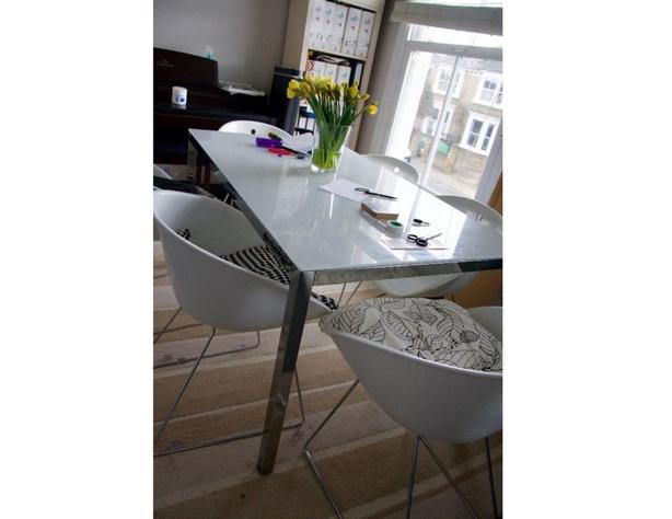 Ikea TORSBY Chrome and Tempered glass table