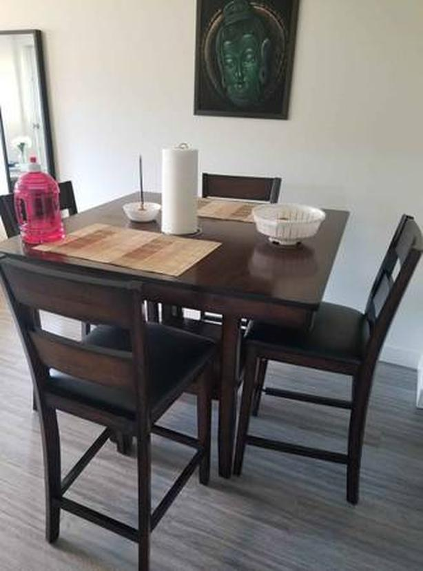 Solid Wood Table and Stool Set (4)