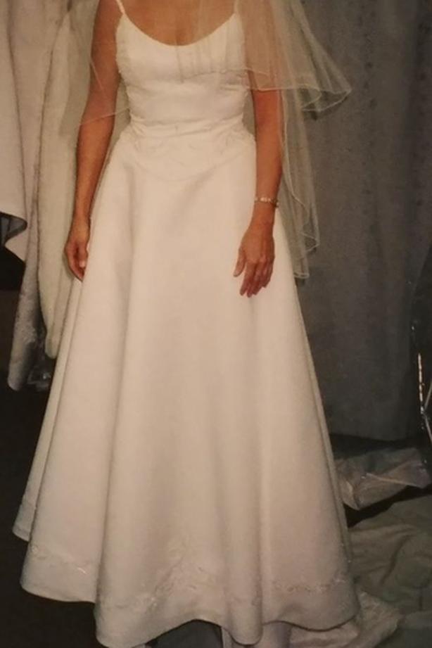 Wedding Dress: 2-Pc W/Detachable Train, Size 6. Brand New, $215