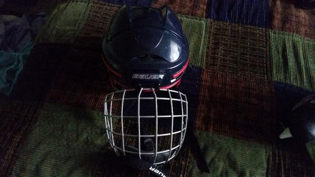 helmet with a cage