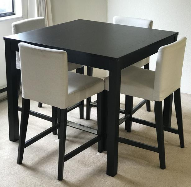 Ikea high bar table and high Henriksdal chairs