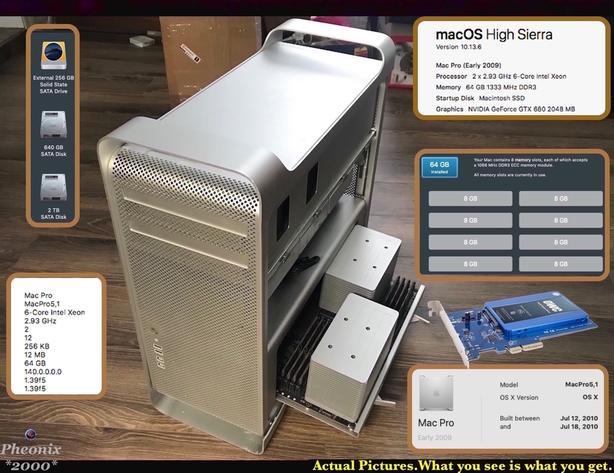 Apple Mac Pro 2x 2.93GHz 6-Core Intel Xeon / 64GB// 240GB SSD+2TB +640GB.