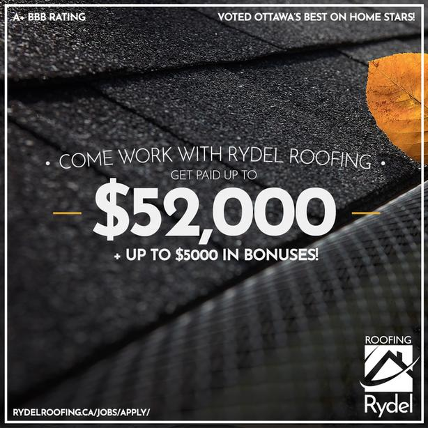 Earn up to $57k per year with Rydel Roofing