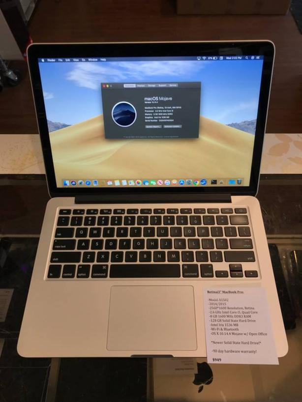 """Retina 13"""" MacBook Pro 2.6GHz Intel Core i5 8GB RAM 128GB SSD w/ Warranty!"""