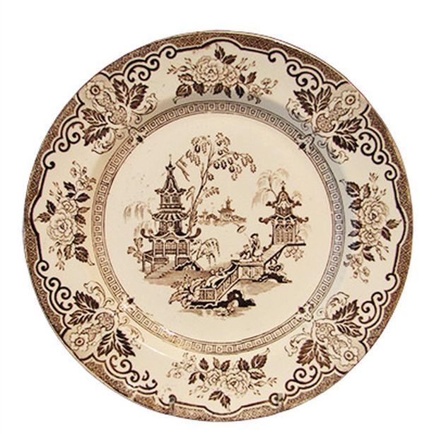 Antique brown transferware ironstone dinner plates in the Hyson pattern