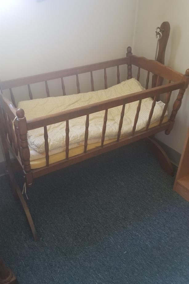 """Vintage wood cradle. 39"""" x 20"""" x 35"""""""