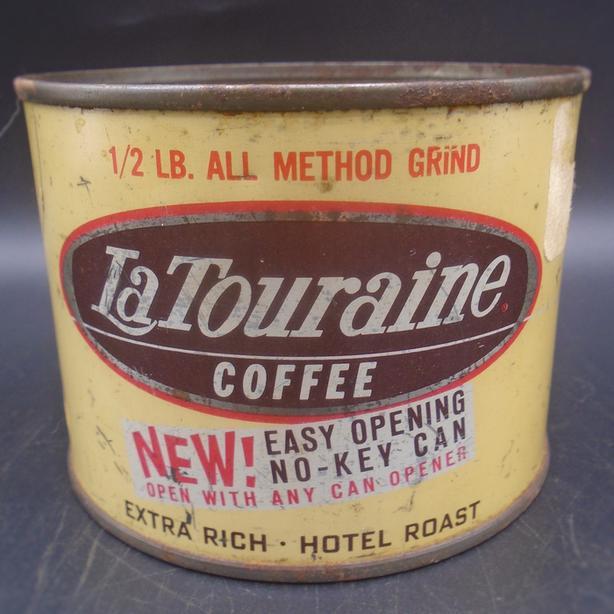 VINTAGE 1950's LA TOURAINE COFFEE (1/2 LB.) TIN - BOSTON, MASS.