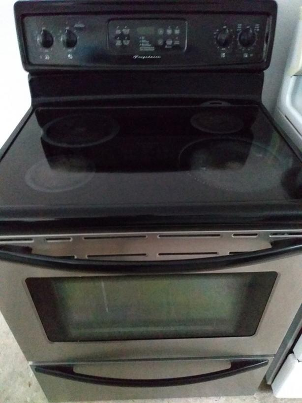 Frigidaire stainless steel flat top stove,self clean oven