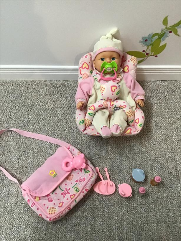 Doll with purse and backpack for doll