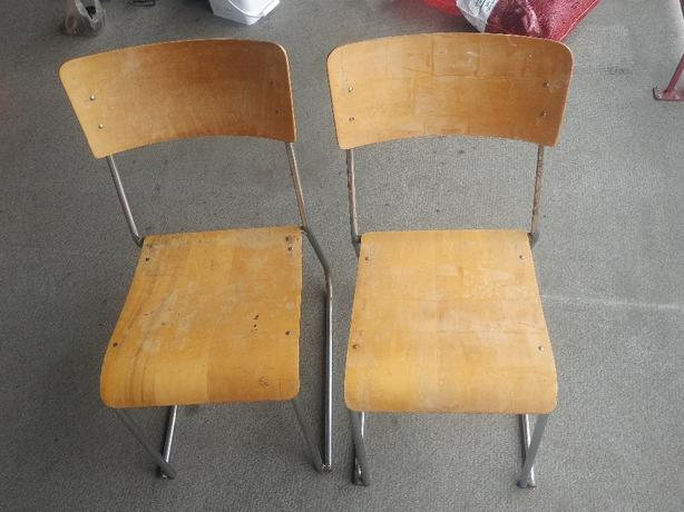 FREE: pair vintage plywood stacking school chairs