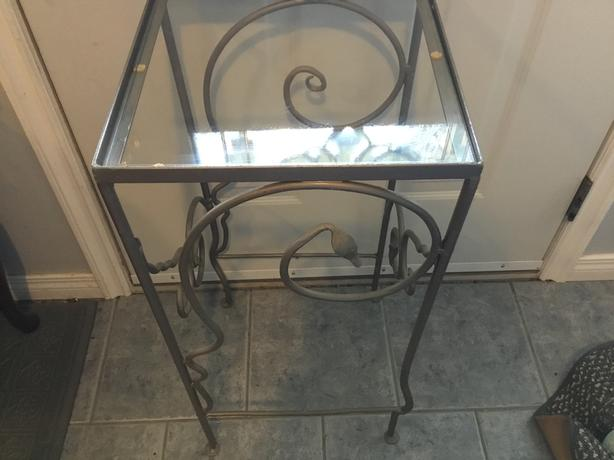 Tall Iron and Glass Plant Stand