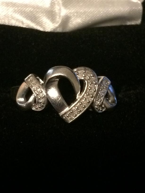 Genuine diamond ring, sterling silver