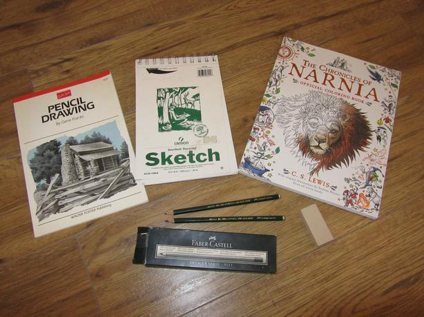 Narnija adult coloring book and Pencil Drawing by Gene Franks lot