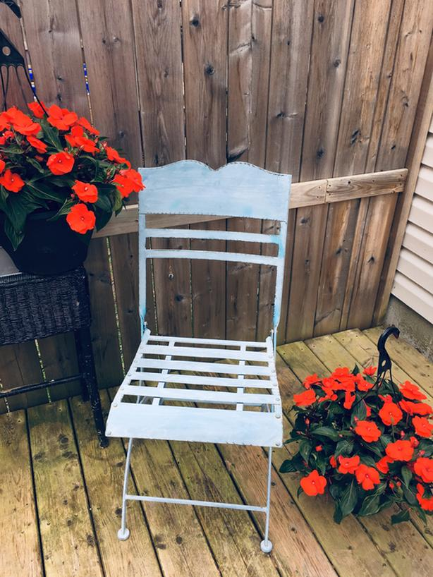 Blue metal & cast iron folding chair