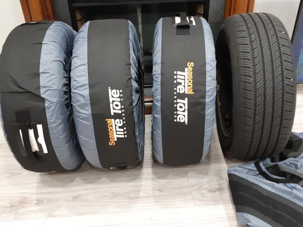 215/55R16 All Season Tires with Rims and Carry Totes