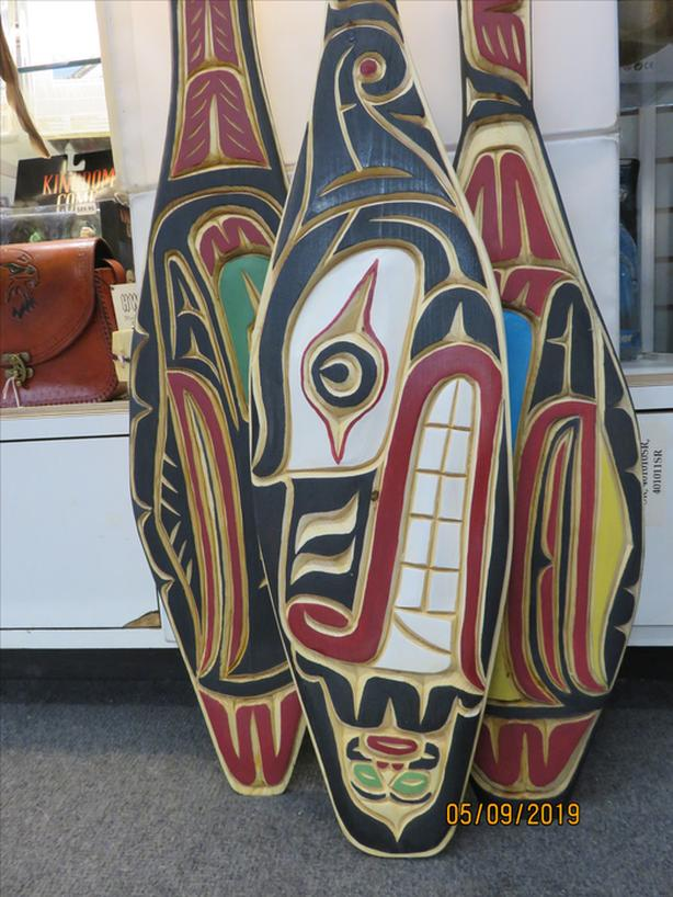 Coast Salish Native Hand Carved and Painted Paddles