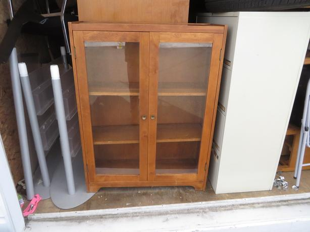 Vintage glass door wooden bookcase - $145 obo