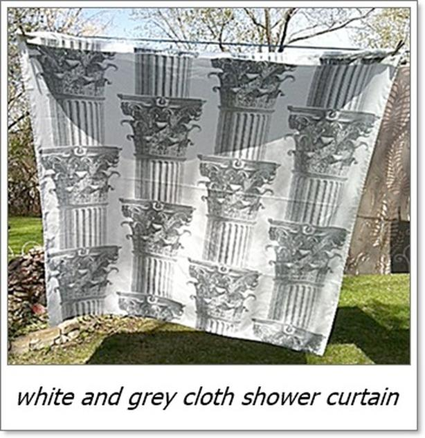 White and Grey cloth shower curtain
