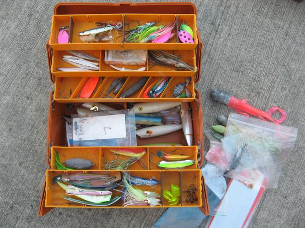 Saltwater fishing tackle box with lures jigs salmon cod