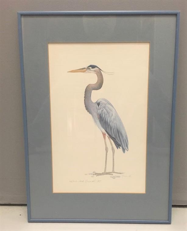 Jack Grundle (1922 - 2004) RARE: Print 28/250 Signed & Dated 1983 Blue Heron