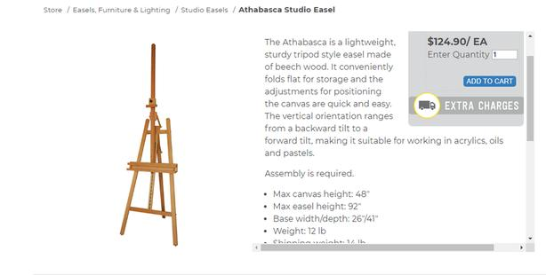 Athabasca Studio Easel with drawing board -new condition