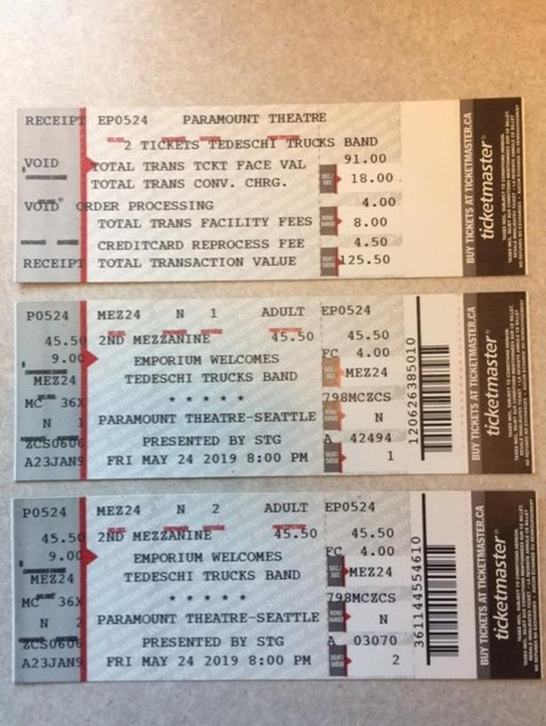 Tedeschi Trucks Band concert in Seattle Friday May 24 - pair of tix