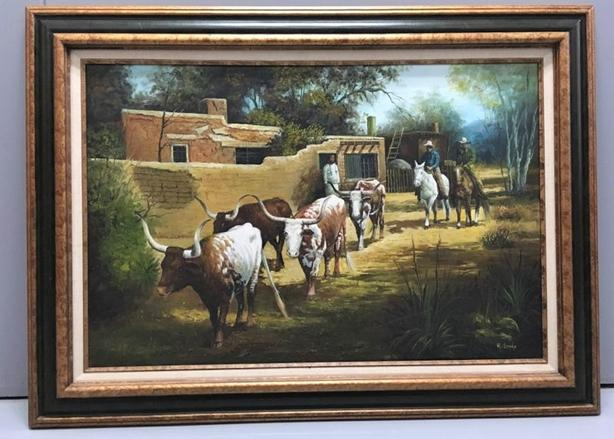 """Remnants of the Herd"" Painting by H Murphy, Brilliantly Western Art 32"" x 44"""