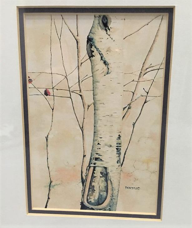 "White Birch Tree Print With Black Frame, Double Matted & Glass 18"" x 16"""