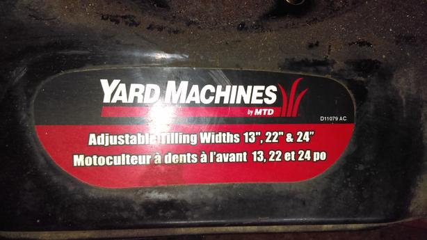 FOR-TRADE: 195 cc (6hp) Yard Machine Front Tine Tiller
