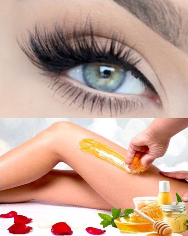 lash extensions and sugaring hair removal