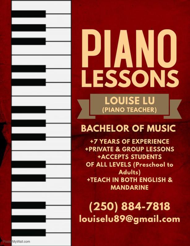 PIANO LESSONS (English/Mandarin) Saanich, Victoria