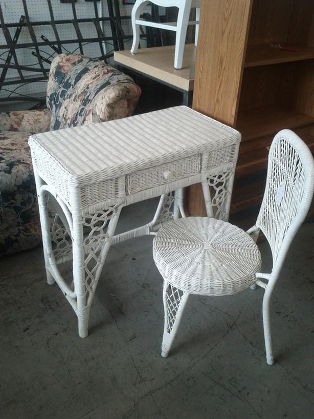 Wicker Chair and Desk