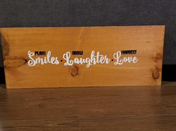 Wood sign   Smile Laughter love