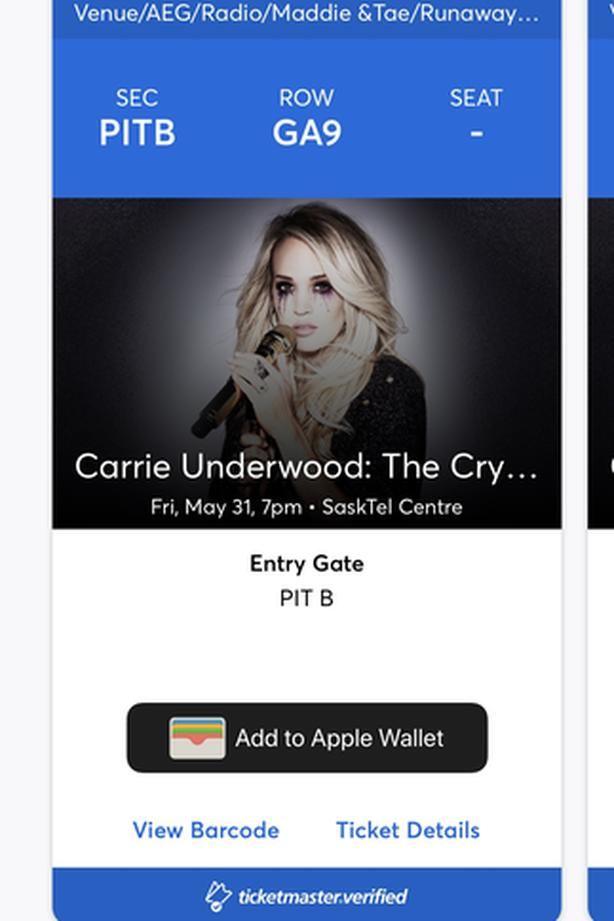 1 PIT TICKET FOR SALE - CARRIE UNDERWOOD - SASKATOON, MAY 31