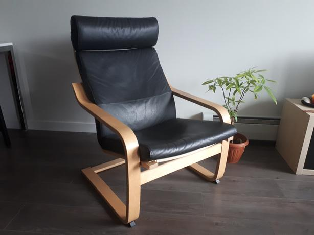 Black tumbled leather comfy armchair