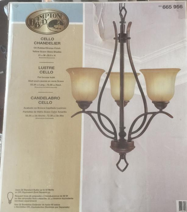 ***REDUCED - Hampton Bay 3-Light Cello Chandelier For Sale - Brand New!