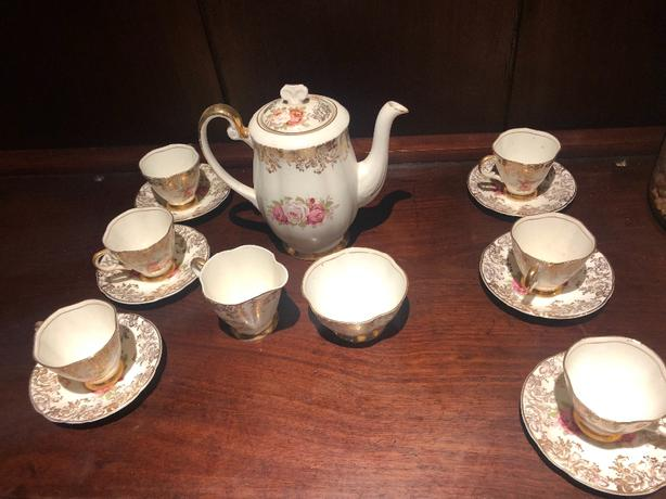 antique gold plated china tea set