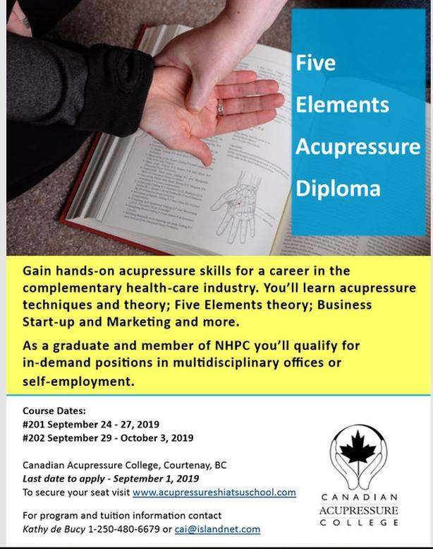 Five Element Acupressure Training with Canadian Acupressure College