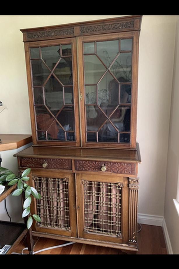 Gorgeous antique bookshelf cabinet. Needs a few repairs