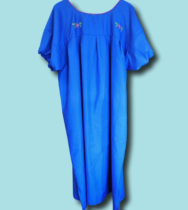 Plus size Mexican dress for women Blue Peasant embroidered ...