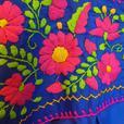Plus size Mexican dress for women Blue Peasant embroidered Puebla XXL XXXL