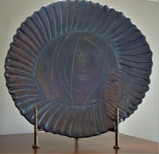 Pottery  Art Plate with  Brass Stand