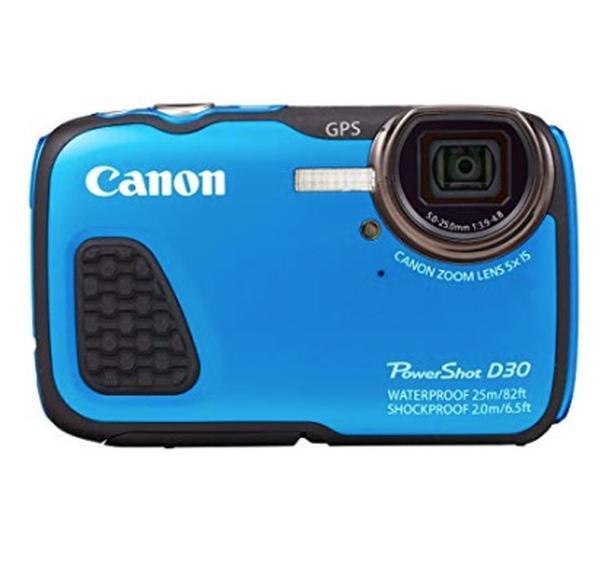 Blue Canon Powershot Underwater Camera