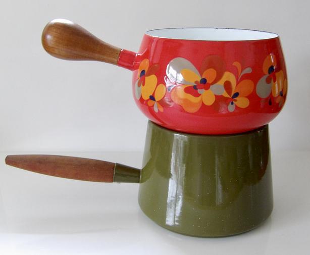 Vintage 60's Mod Kitchen Michael Lax Holland & Red Floral Enamel Pots