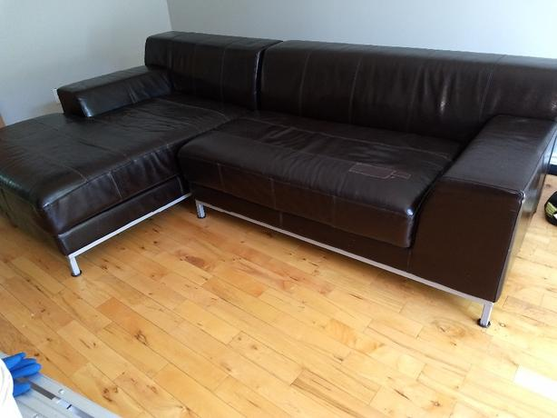FREE: IKEA Brown Leather Sofa