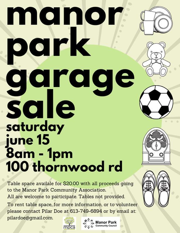 Manor Park Community Garage Sale - June 15, 2019 Central