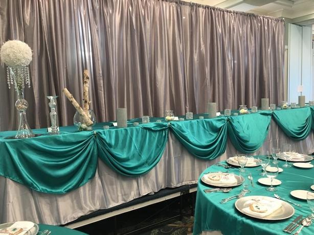 4 Silver Taffeta Backdrop Panels